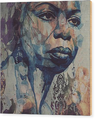 Wood Print featuring the mixed media I Wish I Knew How It Would Be  Feel To Be Free by Paul Lovering