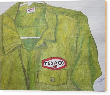Wood Print featuring the painting I Worked At Texaco by Kathy Marrs Chandler