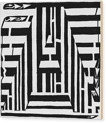 I Would Like To Maze A Vowel Wood Print by Yonatan Frimer Maze Artist