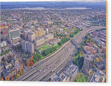 I5 Seattle Aerial View Wood Print