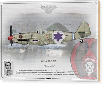 Wood Print featuring the drawing Iaf Avia S-199 by Amos Dor