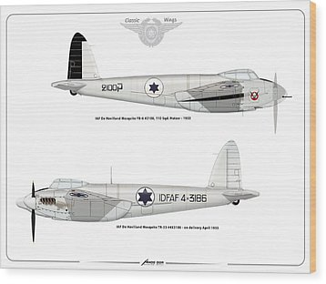 Wood Print featuring the digital art Iaf Mosquito II by Amos Dor
