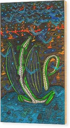 Iammyaza In His Lair Wood Print by Al Goldfarb