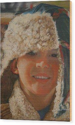 Ian Portrait Wood Print by Leonor Thornton