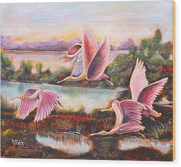 Scarlet Ibis Wood Print by Patricia Piffath
