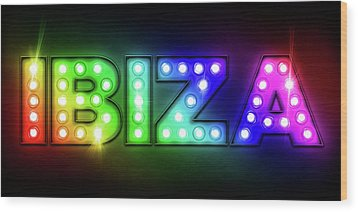 Ibiza In Lights Wood Print by Michael Tompsett