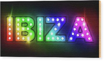 Ibiza In Lights Wood Print by Michael Tompsett