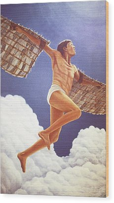 Wood Print featuring the painting Icarus Ascending by Laurie Stewart