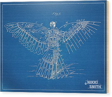 Icarus Human Flight Patent Artwork Wood Print by Nikki Marie Smith