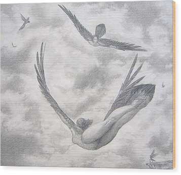 Icarus Suits Wood Print by Julianna Ziegler