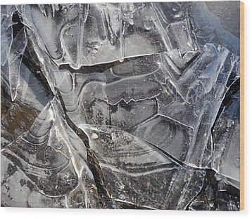 Ice Abstract Wood Print by Lynda Lehmann