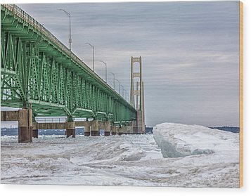 Wood Print featuring the photograph Ice And Mackinac Bridge  by John McGraw