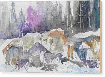 Ice And Rocks Wood Print