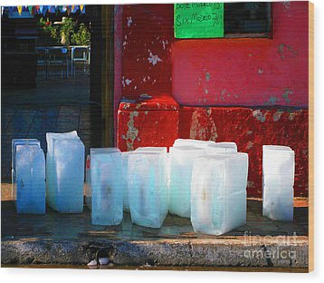 Ice Blocks By Michael Fitzpatrick Wood Print by Mexicolors Art Photography