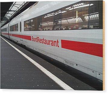 Ice Bord Restaurant At Zurich Mainstation Wood Print by Ernst Dittmar