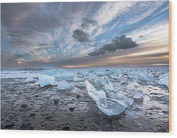 Ice Chunks Sunset 2 Wood Print