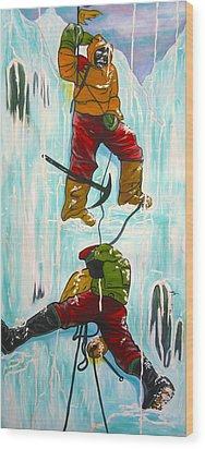 Ice Climbers Wood Print by V Boge
