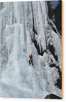 Ice Climbing In The Adirondack Mountains Of New York At Pok-o-moonshine Cliff Wood Print by Brendan Reals