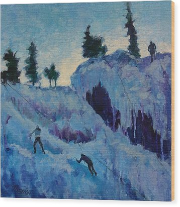 Ice Climbing Wood Print by Marion Corbin Mayer