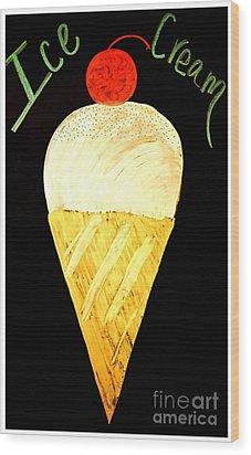 Ice Cream Cone Wood Print