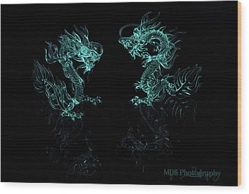 Ice Dragons Wood Print by Chad Hamilton