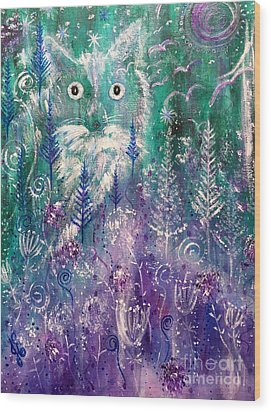 Ice Fox Wood Print by Julie Engelhardt