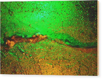 Ice Light Painting - Green And Gold Wood Print by Marcus Adkins
