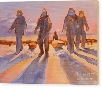 Ice Men Come Home Wood Print by Kathy Braud