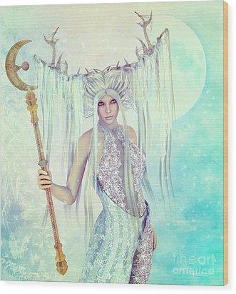 Wood Print featuring the digital art Ice Moon Princess by Jutta Maria Pusl