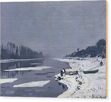 Ice On The Seine At Bougival Wood Print by Claude Monet