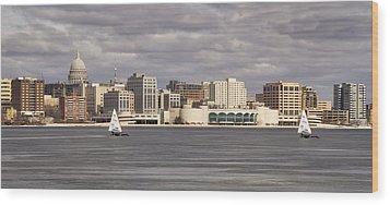 Ice Sailing - Lake Monona - Madison - Wisconsin Wood Print