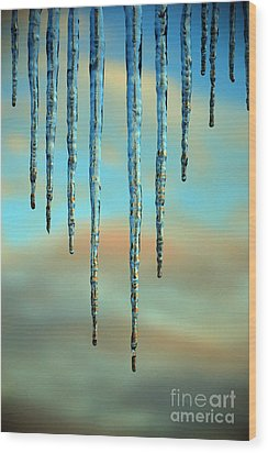Wood Print featuring the photograph Ice Sickles - Winter In Switzerland  by Susanne Van Hulst