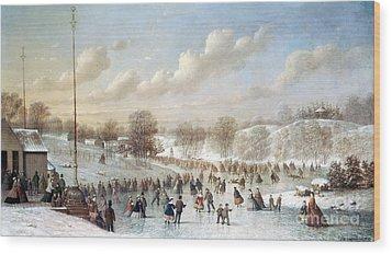 Ice Skating, 1865 Wood Print by Granger