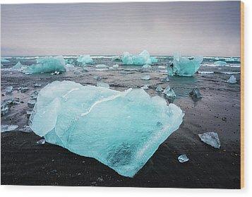 Iceberg Pieces In Iceland Jokulsarlon Wood Print by Matthias Hauser