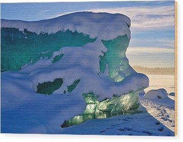 Iceberg's Glow - Mendenhall Glacier Wood Print by Cathy Mahnke