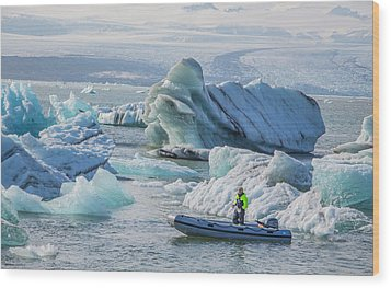 Icebergs On Jokulsarlon Lagoon In Iceland Wood Print by Venetia Featherstone-Witty