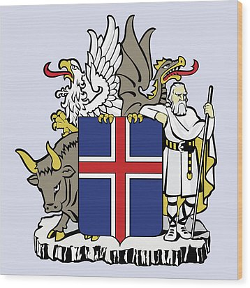 Wood Print featuring the drawing Iceland Coat Of Arms by Movie Poster Prints