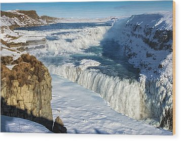 Iceland Gullfoss Waterfall In Winter With Snow Wood Print by Matthias Hauser