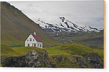 Wood Print featuring the photograph Iceland House And Glacier by Joe Bonita