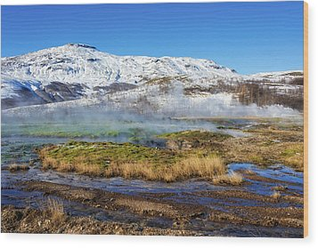 Iceland Landscape Geothermal Area Haukadalur Wood Print by Matthias Hauser