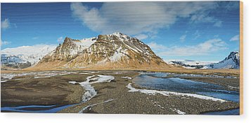 Wood Print featuring the photograph Iceland Landscape Panorama Sudurland by Matthias Hauser