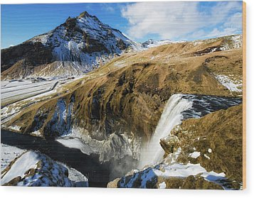 Wood Print featuring the photograph Iceland Landscape With Skogafoss Waterfall by Matthias Hauser