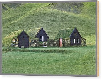 Icelandic Turf Homes Wood Print by Mario Carini