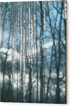 Icicle Art Fun 10 Wood Print by Debra     Vatalaro