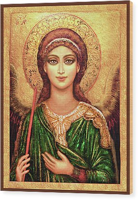 Icon Angel In Green Wood Print