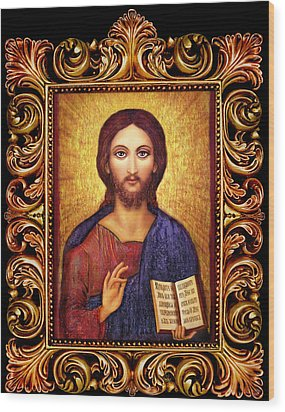 Icon Christ Altar Wood Print by Ananda Vdovic