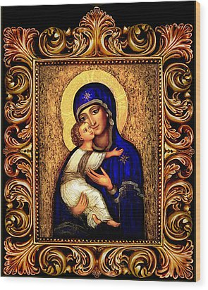 Icon Madonna Altar Wood Print by Ananda Vdovic