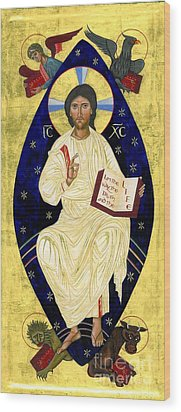 Icon Of Christ In Glory Wood Print by Juliet Venter