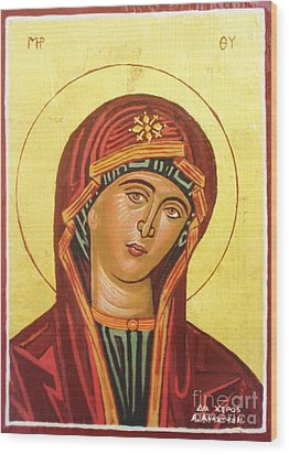 Icon Of The Virgin Mary. Wood Print by Anastasis  Anastasi