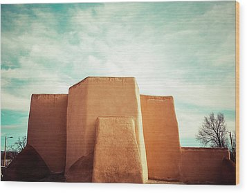 Wood Print featuring the photograph Iconic Church In Taos by Marilyn Hunt